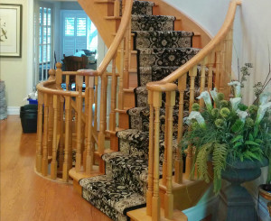Black Oriental Carpet Runner on Curve Staircase in Markham, Ontario, Canada