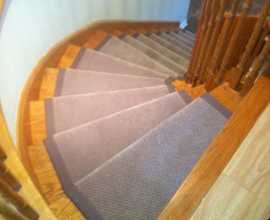 Stair runner on curve staircase in Oakville