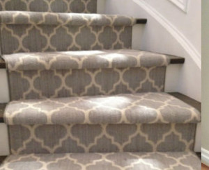 Geometric Stair Runner Installed on Curve Staircase in Toronto