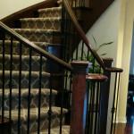 Geometric Stair Runner Installed on Curve Staircase in Brampton, Ontario