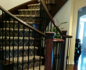 Geometric Stair Runner Installed on Curve Staircase in Brampton, Ontario