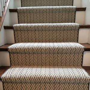 Herringbone Design Carpet Runner on Stairs in Etobicoke