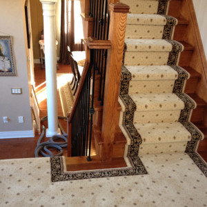 Traditional Staircase Runner on Stairs and Landing Toronto