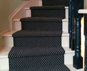 Black and White Wool Carpet Stair Runners on spiral Staircase in TorontoIdeas
