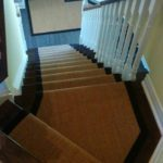 Custom Size Sisal Carpet Runner on Stairs and Matching Rug in Hamilton