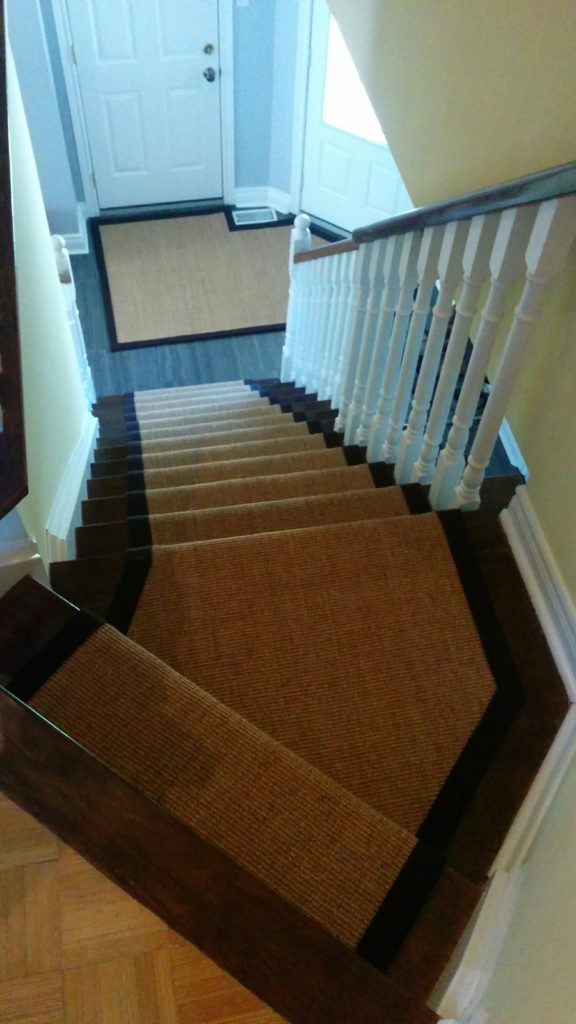 Custom Size Sisal Carpet Runner on Stairs and Matching Rug