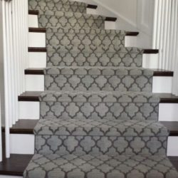 Geometric Modern Stair Runner Gray Colour runner on stairs in Brampton