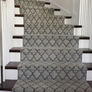 Geometric Stair Runner Gray Colour runner on stairs