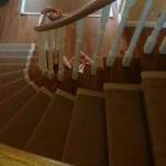 Natural Sisal Stair Runner on Curve Staircase and Matching Entrance Matting in GTA, Concord, Ontario, Canada