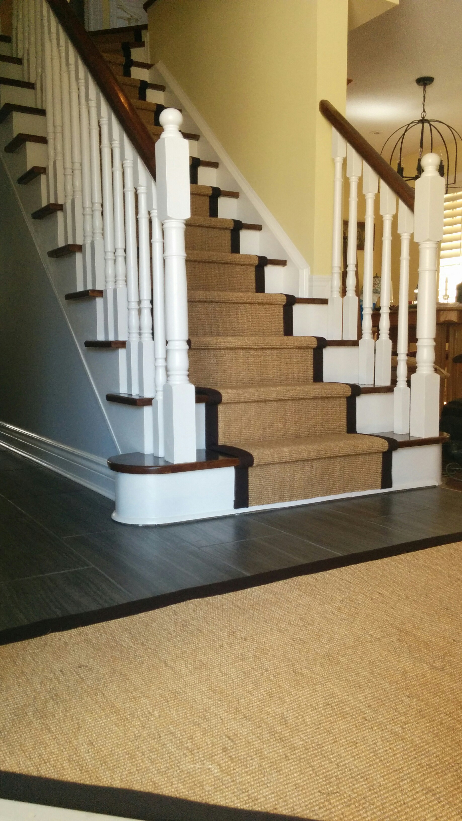 Sisal Carpet Runner on Stairs and Matching area rug entrance matt in North York Ontario, Canada