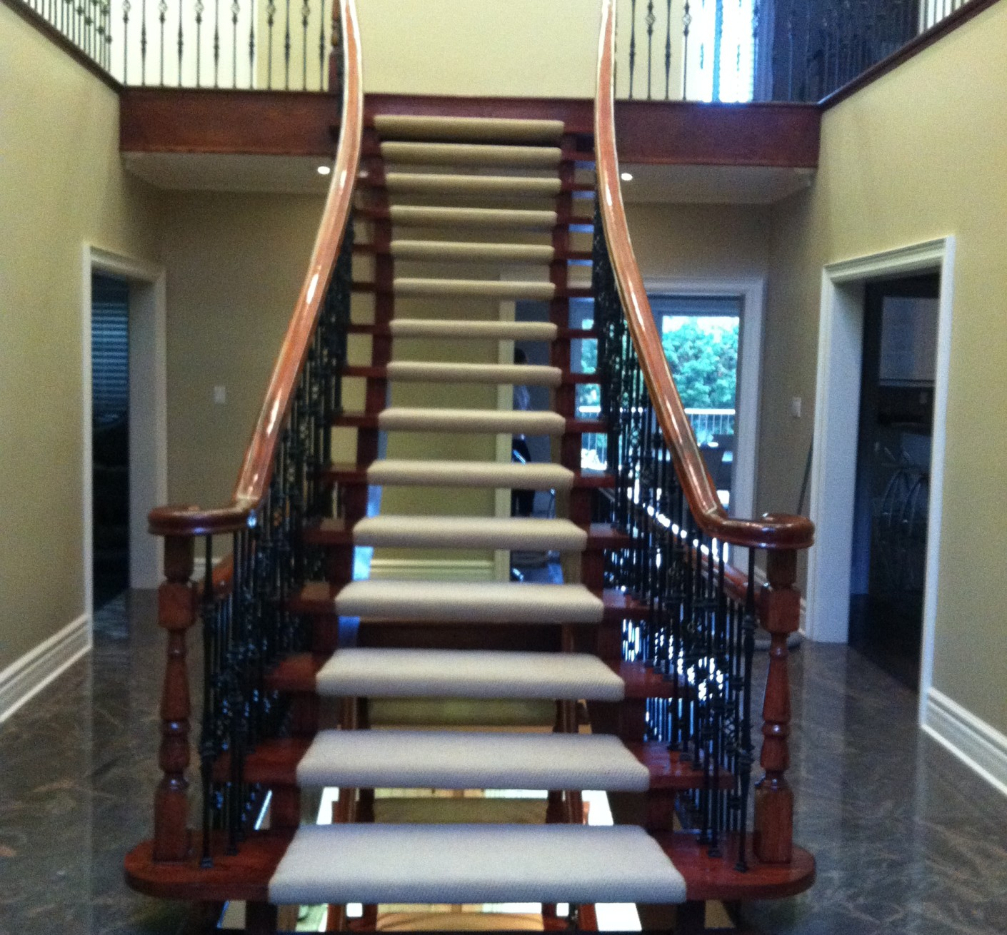 Refinishing Floating Staircase, Railing and add new iron rod pickets