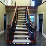 Custom Open Riser Staircase Berber Carpet Runners Richmond Hill, Ontario, Canada, carpeting