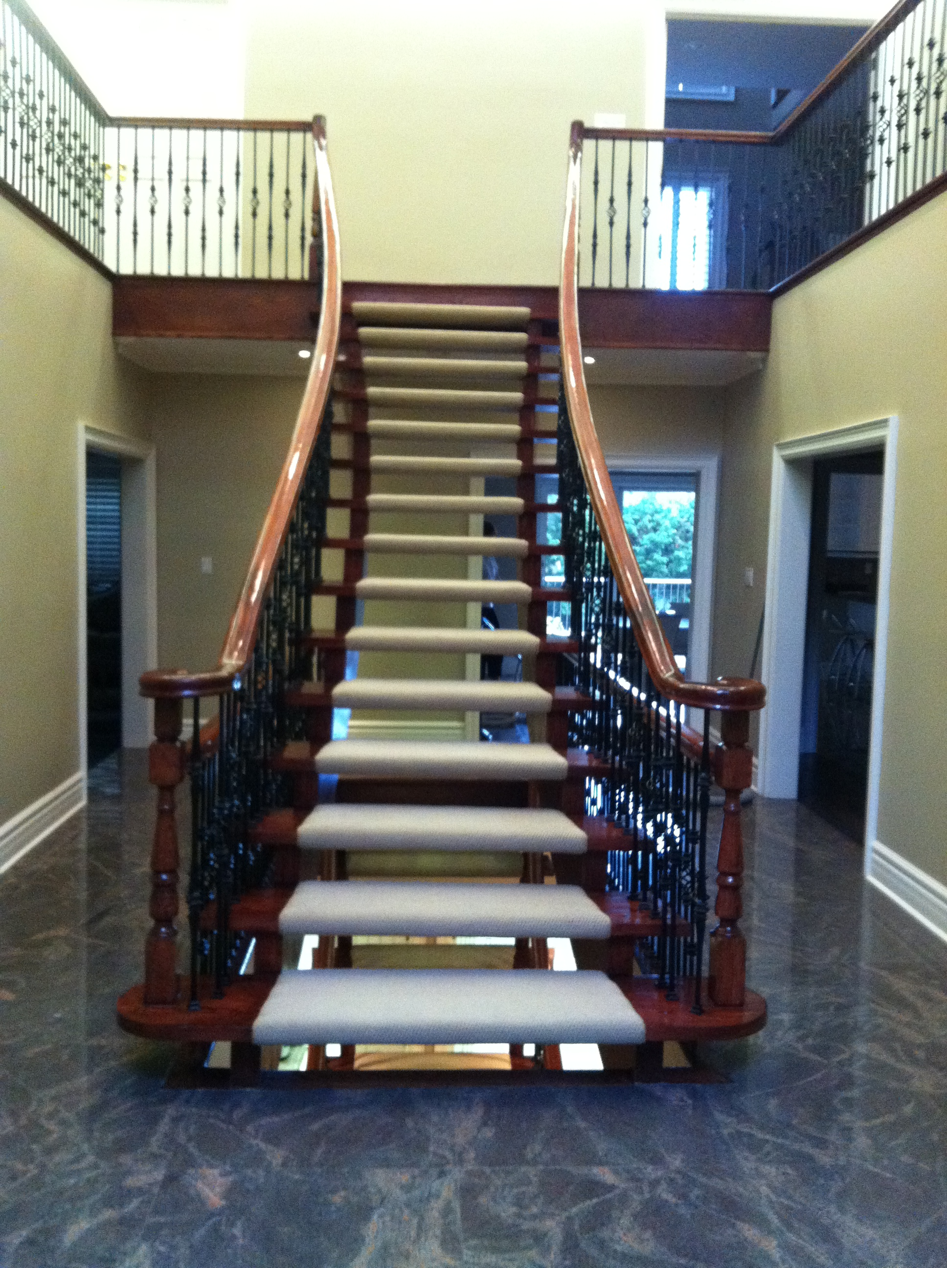 Custom Open Riser Staircase Berber Carpet Runners Richmond Hill, Ontario, Canada