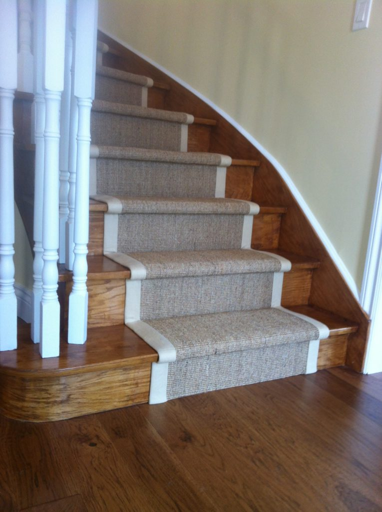 Natural Sisal Carpet Runners on Curve Staircase Midtown Toronto