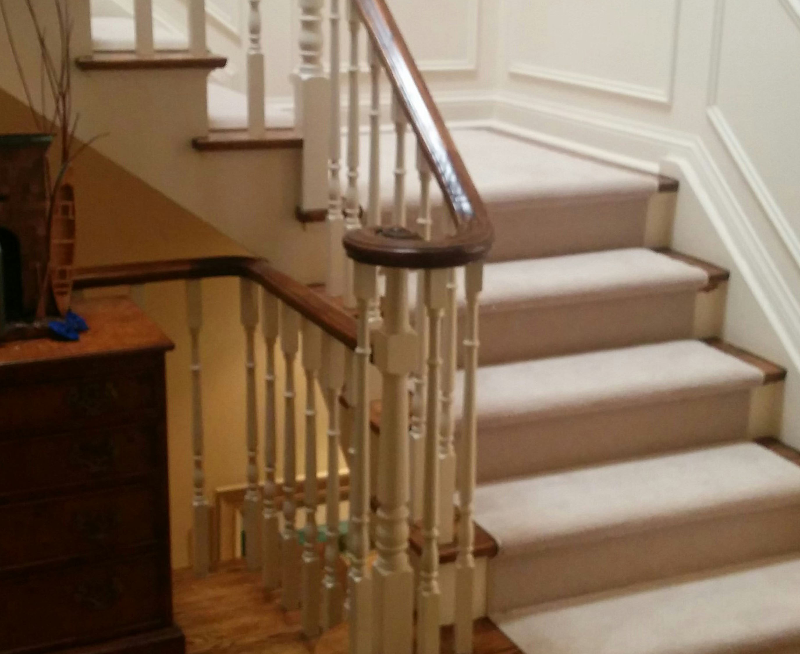 Beautiful Solid Colour Staircase Runner On Stairs And Landing