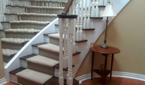 Wool Carpet Runner on Staircase Refinishing and Sanding
