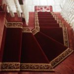 Red Colour Victorian Carpet Runner Installed on pie Stairs