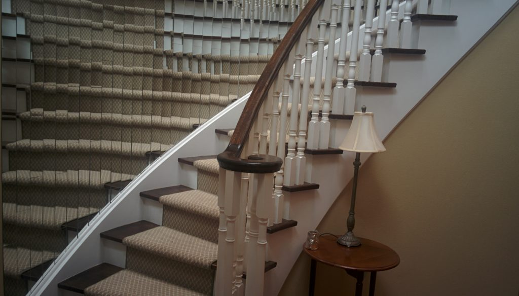 Geometric Wool Carpet Runner On Curve Staircase Carpeting Ideas And  Staircase Runners