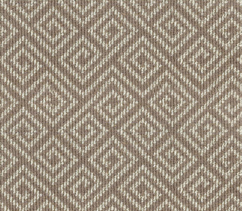 Beige, Taupe Geometric Wool Carpet Runner for Stairs and Hallway
