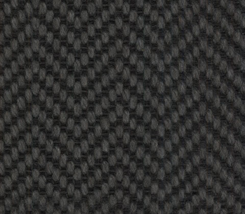 Charcoal Wool Carpet Herringbone Design