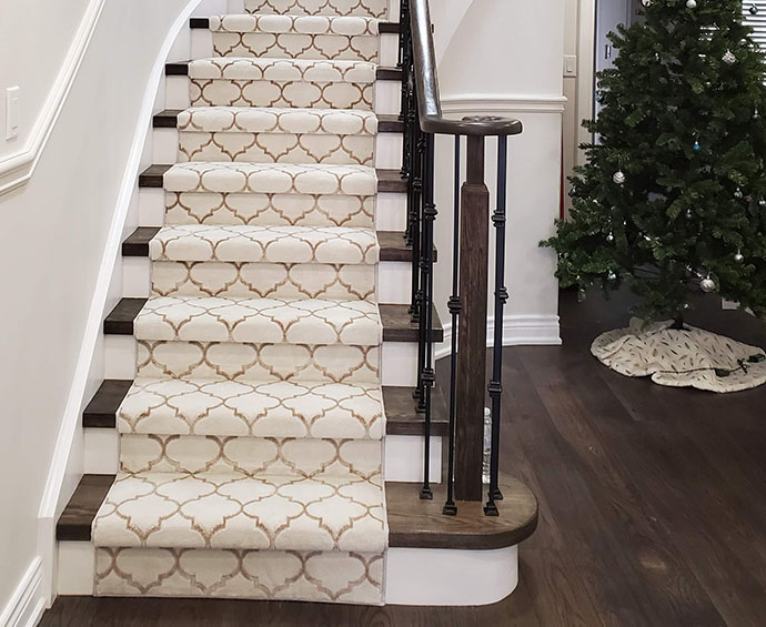 Geometric Beige Brown Carpet Stair Runner