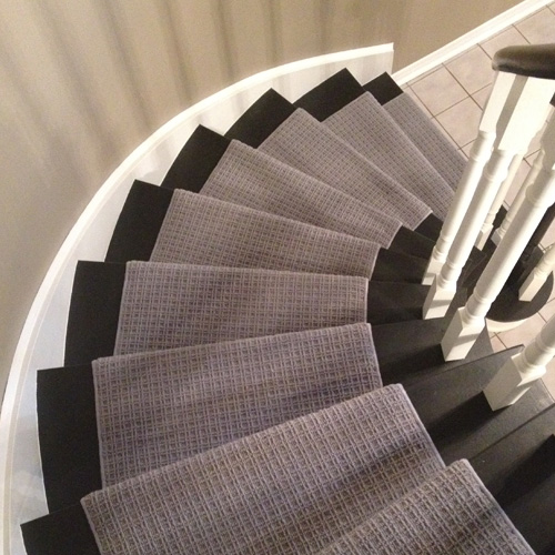 Grey Colour Wool Carpet Runner on Curve Staircase in Toronto