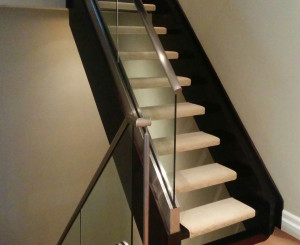 Open Risers Stairs Carpet Runner, Solid Colour Carpet Runner on Floating Staircase. Dark staircase covered by ivory colour carpet stair treads runners, Richmond Hill