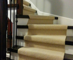 Wool Carpet Runner for Stairs and Hallway installed in Mississauga, Ontario