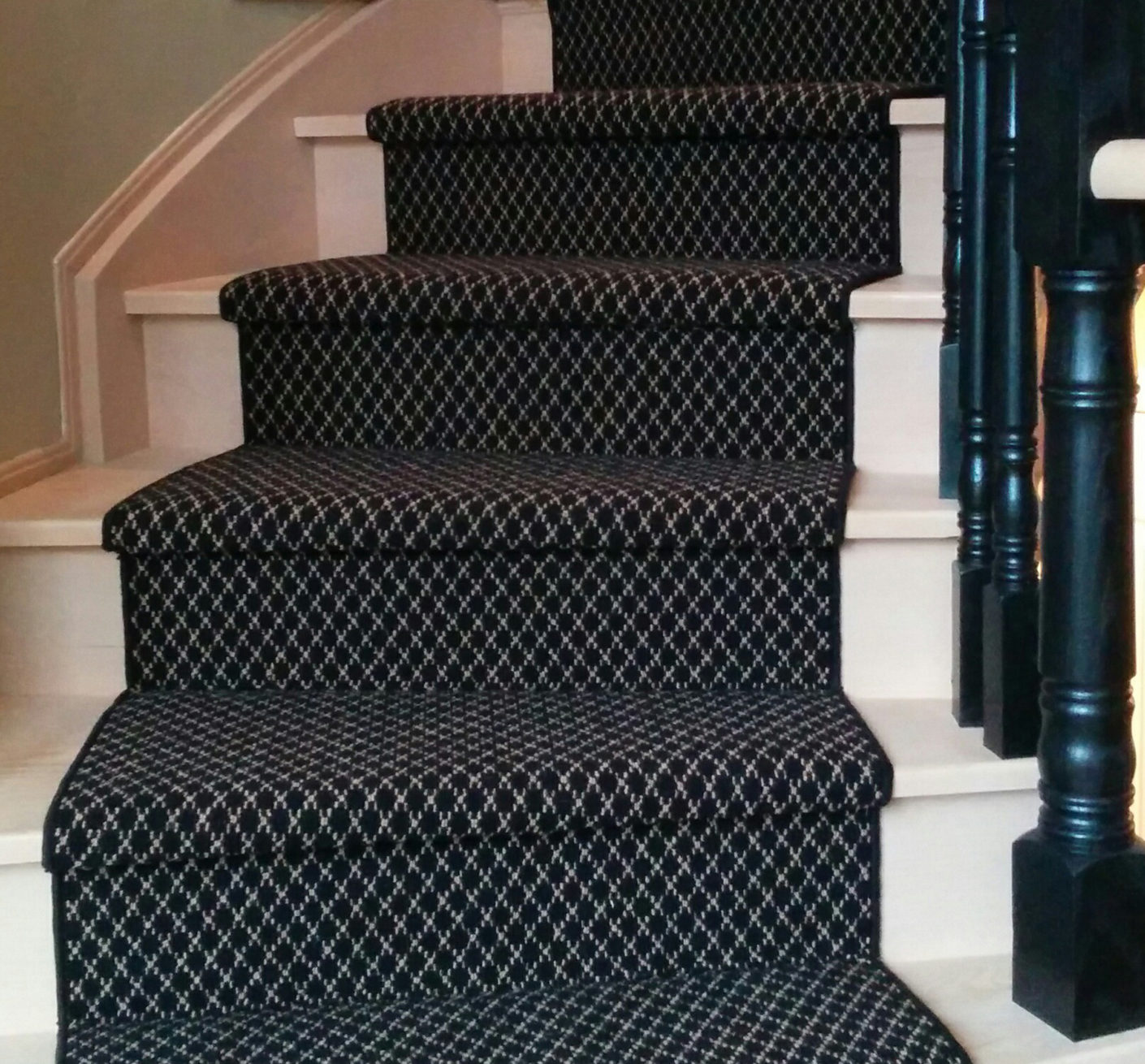 Black and White Wool Carpet Stair Runners on spiral Staircase in Toronto ideas, Wool Carpet Runner King City