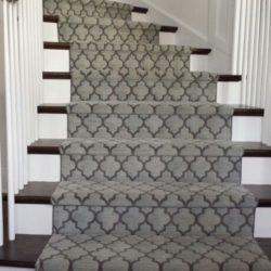 Geometric Modern Stair Runner Gray Colour runner on stairs in Brampton